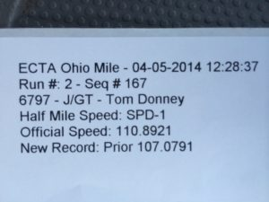 Ohio Mile actual record slip